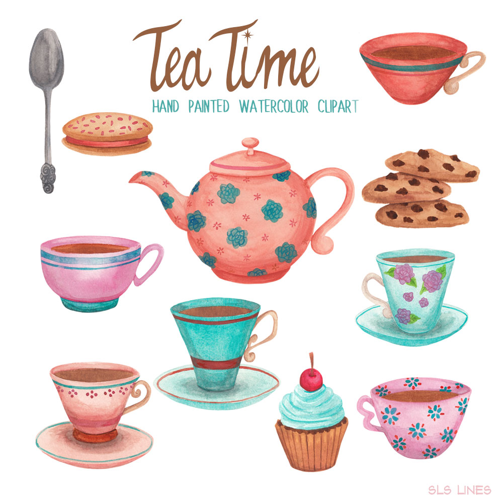 Tea and cookies clipart