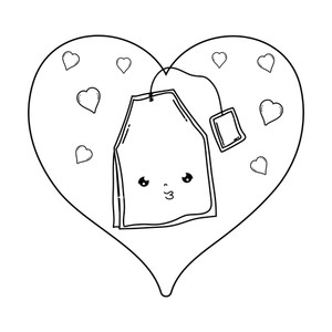 Tea bag with heart clipart vector freeuse download cute tea bag with heart kawaii character vector illustration ... vector freeuse download