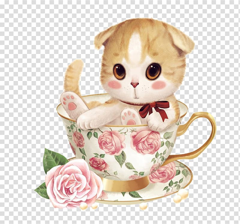 Tea cup cat clipart image freeuse Two orange and gray kittens on cup with saucer, Teacup cat ... image freeuse