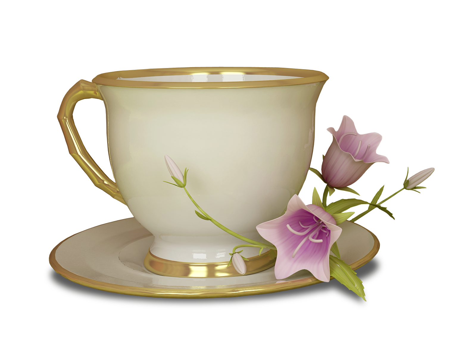 Tea cup clipart transparent background png free Cream and Gold Tea Cup with Pink Flower Large Transparent ... png free