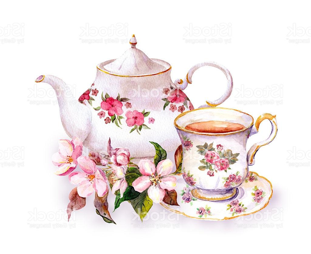 Tea cup with flowers clipart vector black and white Best HD Tea Cup Painting Vector Design » Free Vector Art ... vector black and white