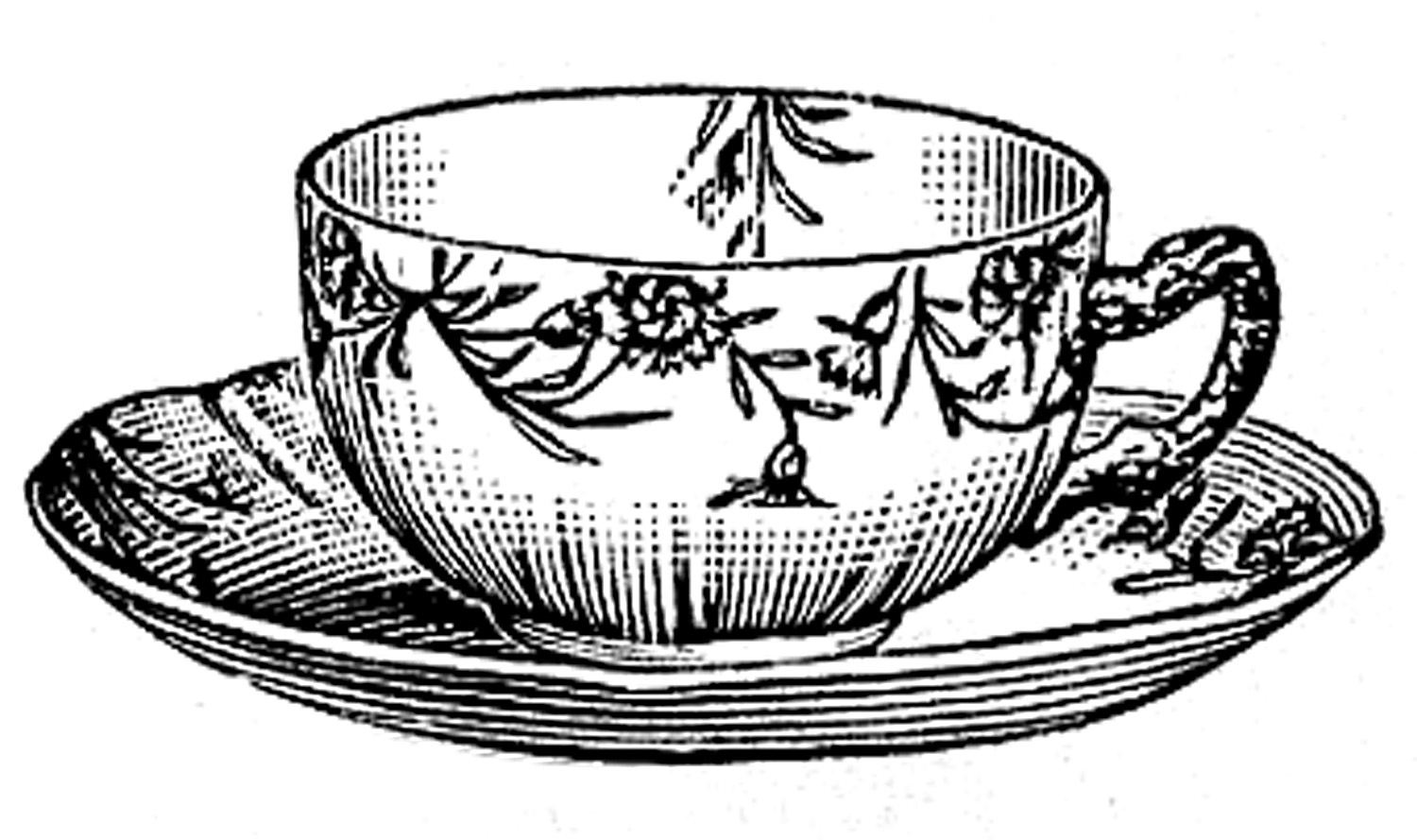 Vintage teacup clipart freeuse download 10 Black and White Teacup Clip Art Images - The Graphics Fairy freeuse download