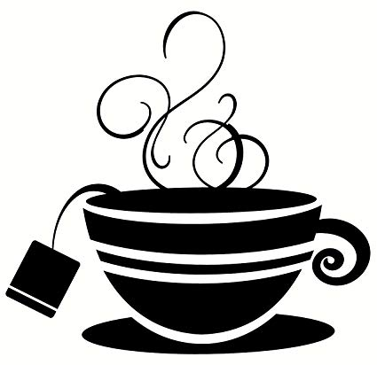 Tea cup with steam clipart clip art freeuse library Wall Décor Plus More WDPM2109 Striped Teacup with Steam Kitchen Wall Art  Vinyl Sticker Decal, 12x11.5-Inch, Black clip art freeuse library