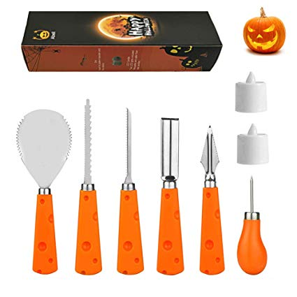 Tea light kit clipart jpg black and white stock Abell Halloween Pumpkin Carving Kit with 2 Tea Lights 6 PCS Sturdy  Stainless Steel Pumpkin Carving Tools Set for Carving Jack-O-Lanterns jpg black and white stock