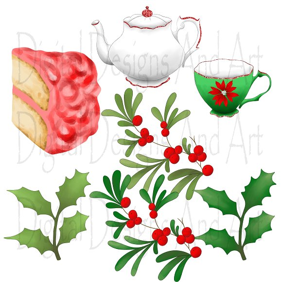 Tea pot clipart christmas svg black and white library Christmas tea set clipart svg black and white library