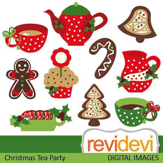 Tea pot clipart christmas image freeuse library Clipart Christmas Tea Party 08114 by revidevi on Etsy, $4.95 ... image freeuse library