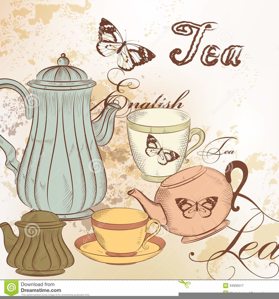 Clipart tea time freeuse library Free Vintage Tea Party Clipart | Free Images at Clker.com ... freeuse library