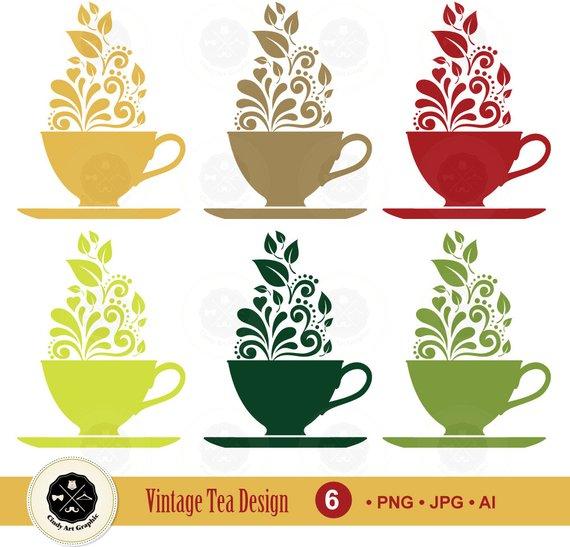 Tea vector clipart banner freeuse download Vintage Tea Cup Vector Clipart,tea logo,silhouettes tea cup ... banner freeuse download