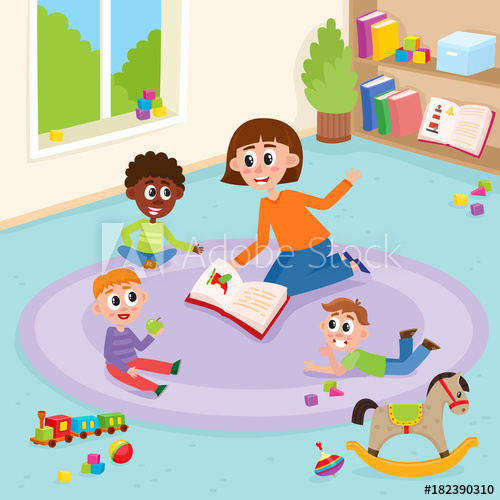 Teacher and students carpet clipart svg black and white library vector flat boys and girls at carpet playing with train ... svg black and white library