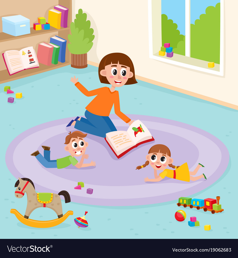 Teacher and students carpet clipart image royalty free Flat boy girl and teacher lying at carpet image royalty free
