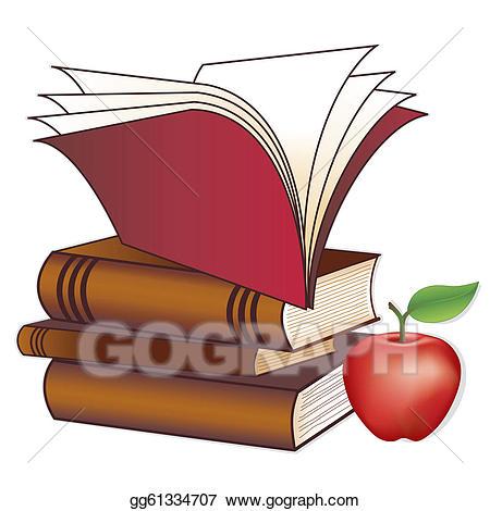 Teacher apple on books clipart graphic free download Vector Clipart - Books, apple for the teacher. Vector ... graphic free download