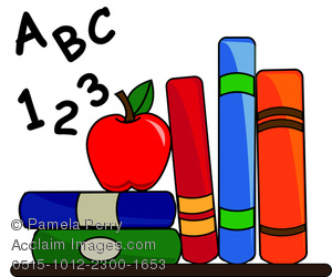 Teacher apple on books clipart image black and white Clip Art Image of School Books With an Apple for Teacher and ... image black and white