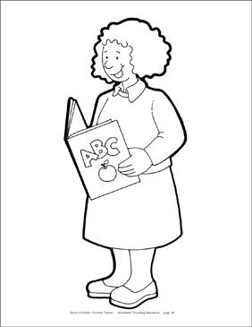 Teacher black and white clipart printable jpg free stock Teacher Reproducible Pattern | Printable Clip Art and Images jpg free stock