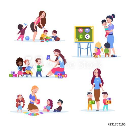 Teacher clipart kids boy girl transparent download Kids in kindergarten. Fun children learning and playing in ... transparent download