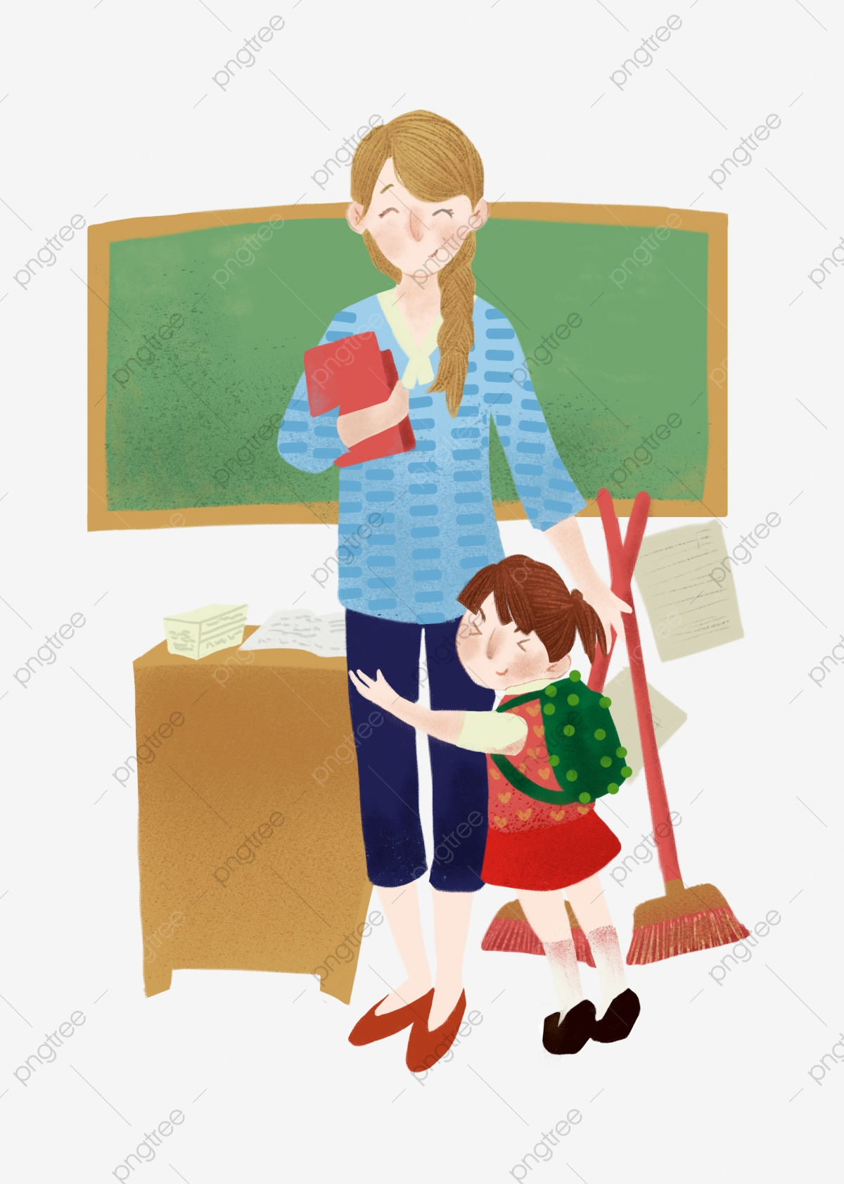 Cartoon Character Hug Teacher Hard Work Teacher Happy ... banner free stock
