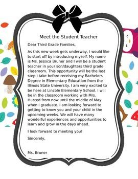 Teacher letter to student clipart clip art library download Meet the Student Teacher Letter   Teaching!   Letter to ... clip art library download