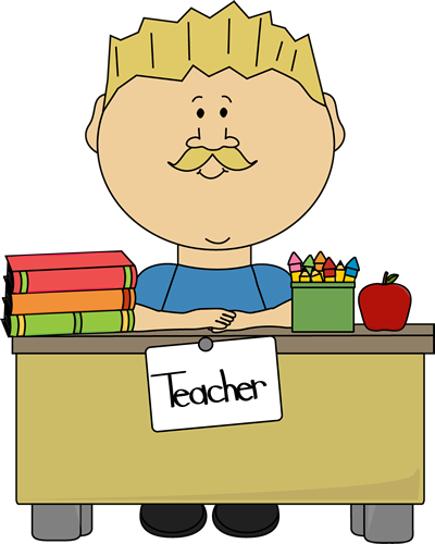 Teacher waving at school clipart clipart royalty free Blond Male Teacher Sitting at a Desk   School/Teacher Clip ... clipart royalty free