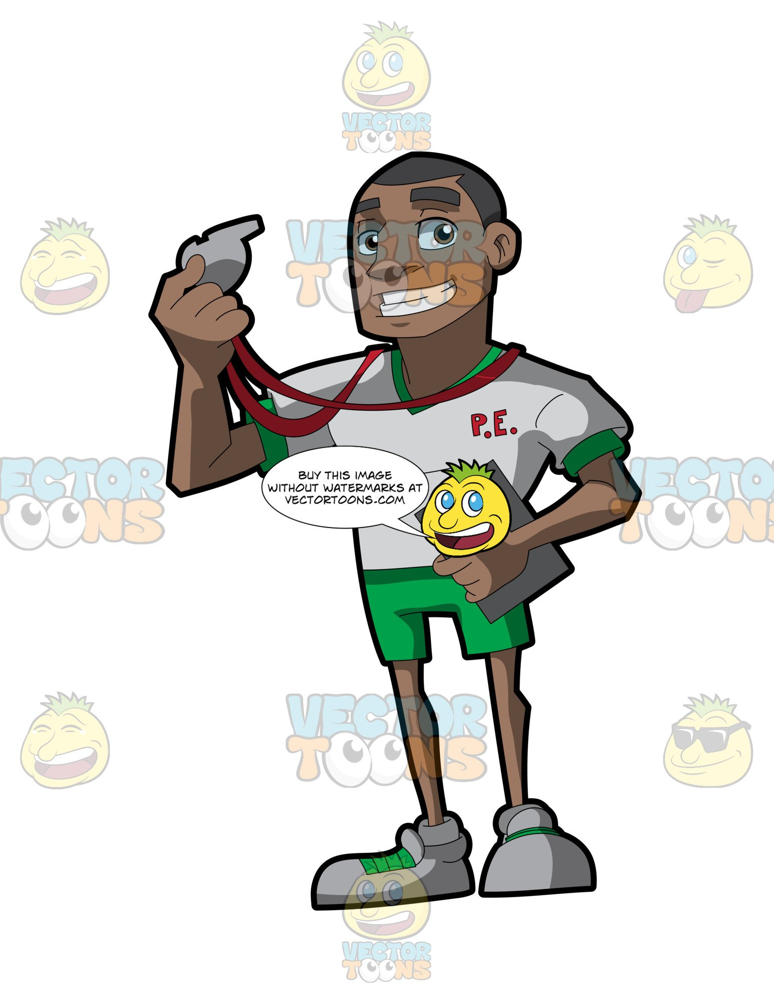 Teacher with a whistle clipart clipart free A Black Gym Class Teacher clipart free