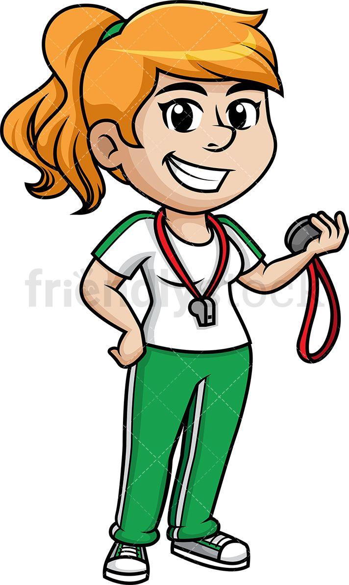 Teacher with a whistle clipart image royalty free Female Gym Teacher | printable in 2019 | Teacher cartoon ... image royalty free