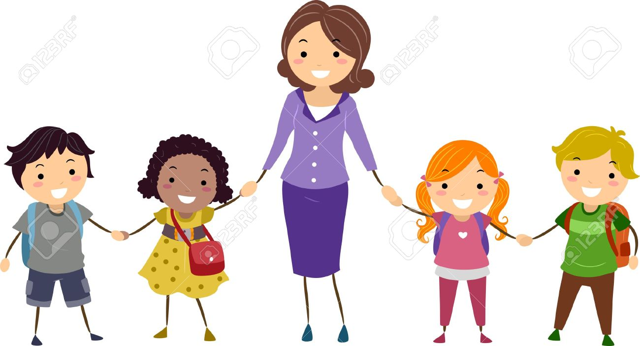 Teacher with kids clipart svg freeuse download Teacher and kids clipart - ClipartFest svg freeuse download