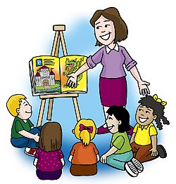 Teacher with kids clipart vector transparent library Teacher To Students Reading Clipart - Clipart Kid vector transparent library