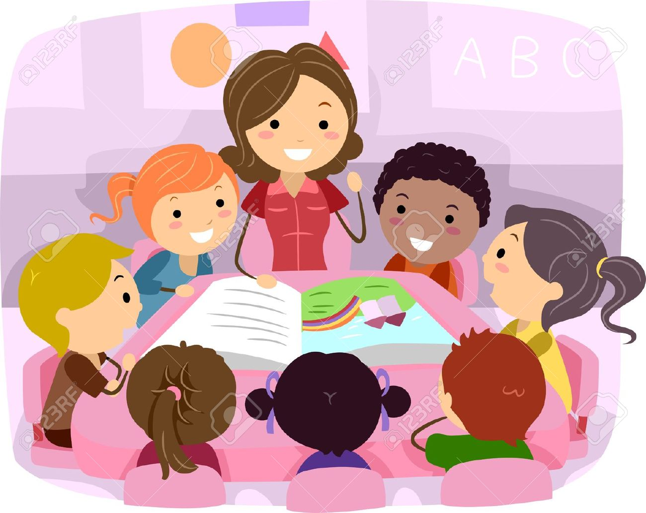 Teacher with kids clipart picture freeuse Kids listening to music teacher clipart - ClipartFest picture freeuse