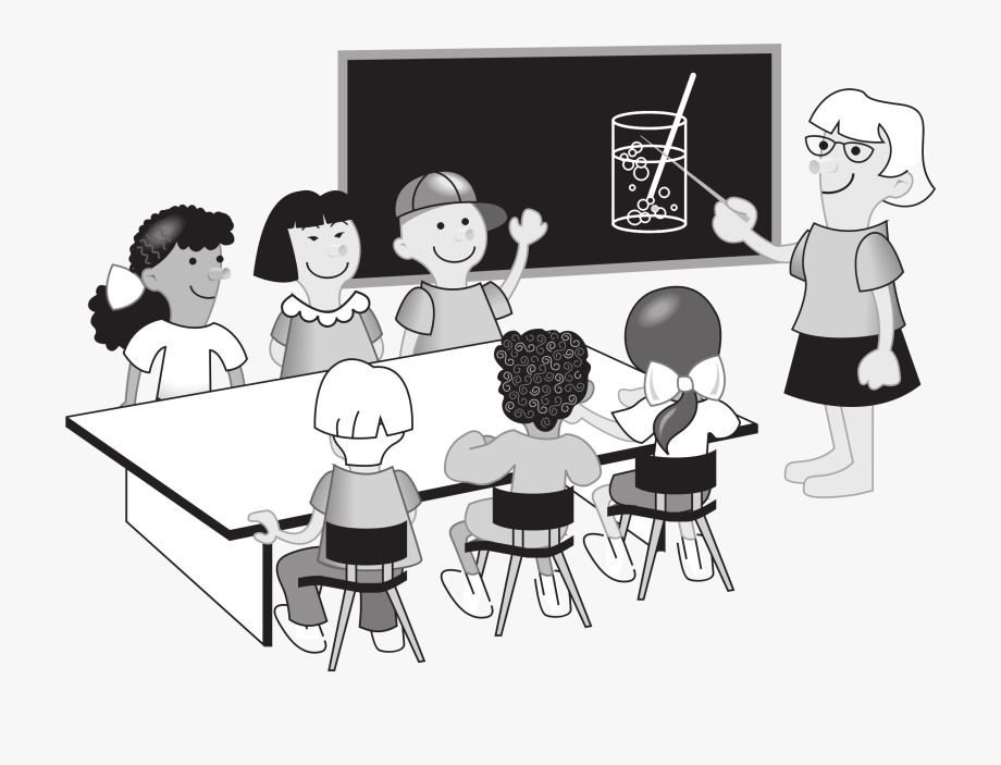 Teacher with students clipart black and white png free stock School Teacher - Class Room Black And White #87092 - Free ... png free stock
