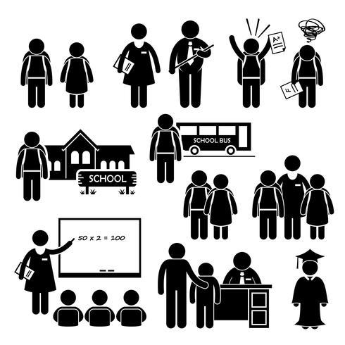 Teaching stick figure clipart png free download Student Teacher Headmaster School Children Stick Figure ... png free download