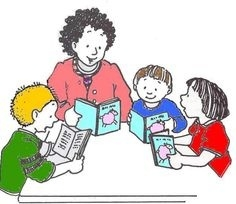 Teaching to student reading clipart image free stock Student Reading With Teacher Clipart | Writings and Essays ... image free stock