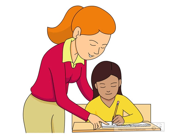 Teaching to student reading clipart