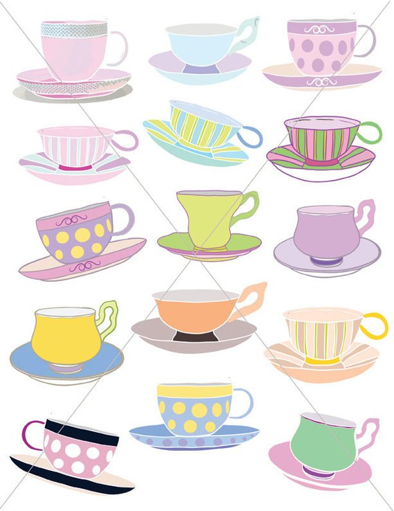 Teacups clipart banner black and white Teacups, Tea Party Graphics, Clipart Cups, Cup and Saucer ... banner black and white
