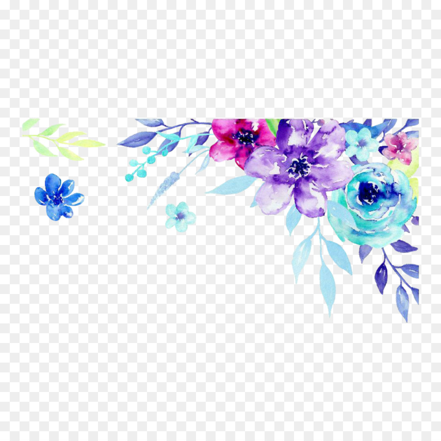 Teal and purple floral clipart picture royalty free download Blue Watercolor Flowers png download - 1773*1773 - Free ... picture royalty free download