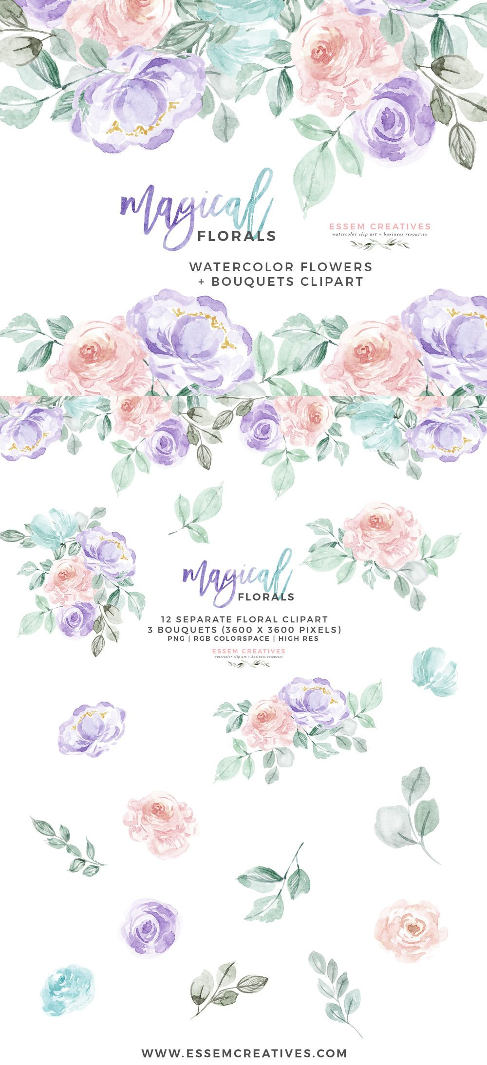 Teal and purple floral clipart image stock Watercolor Flowers Clipart PNG with transparent background ... image stock