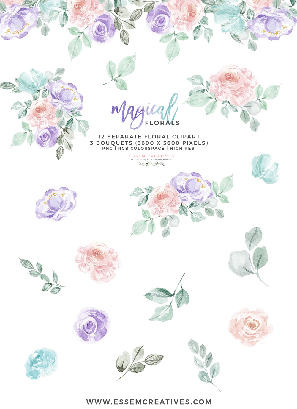 Teal and purple floral clipart vector royalty free download Watercolor Flowers Clipart PNG with transparent background, Purple Pink  Pastel Floral Graphics vector royalty free download