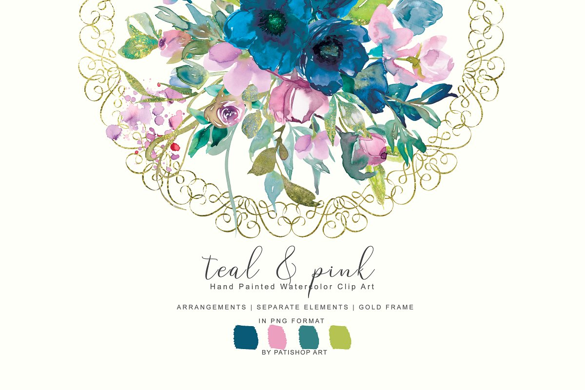 Teal and purple floral clipart graphic freeuse download Watercolor Teal &Pink Floral Set ~ Illustrations ~ Creative ... graphic freeuse download