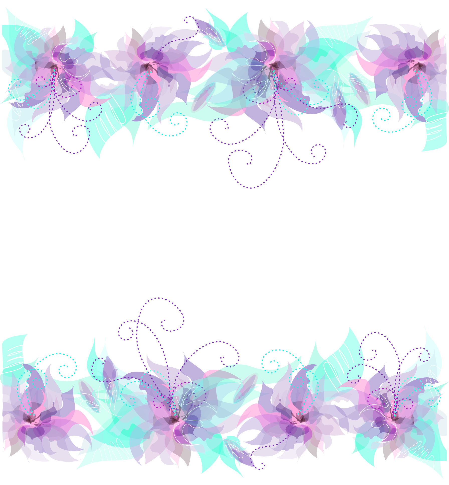 Teal and purple floral clipart picture black and white stock Floral Pink Purple and Blue Decoration PNG Transparent ... picture black and white stock
