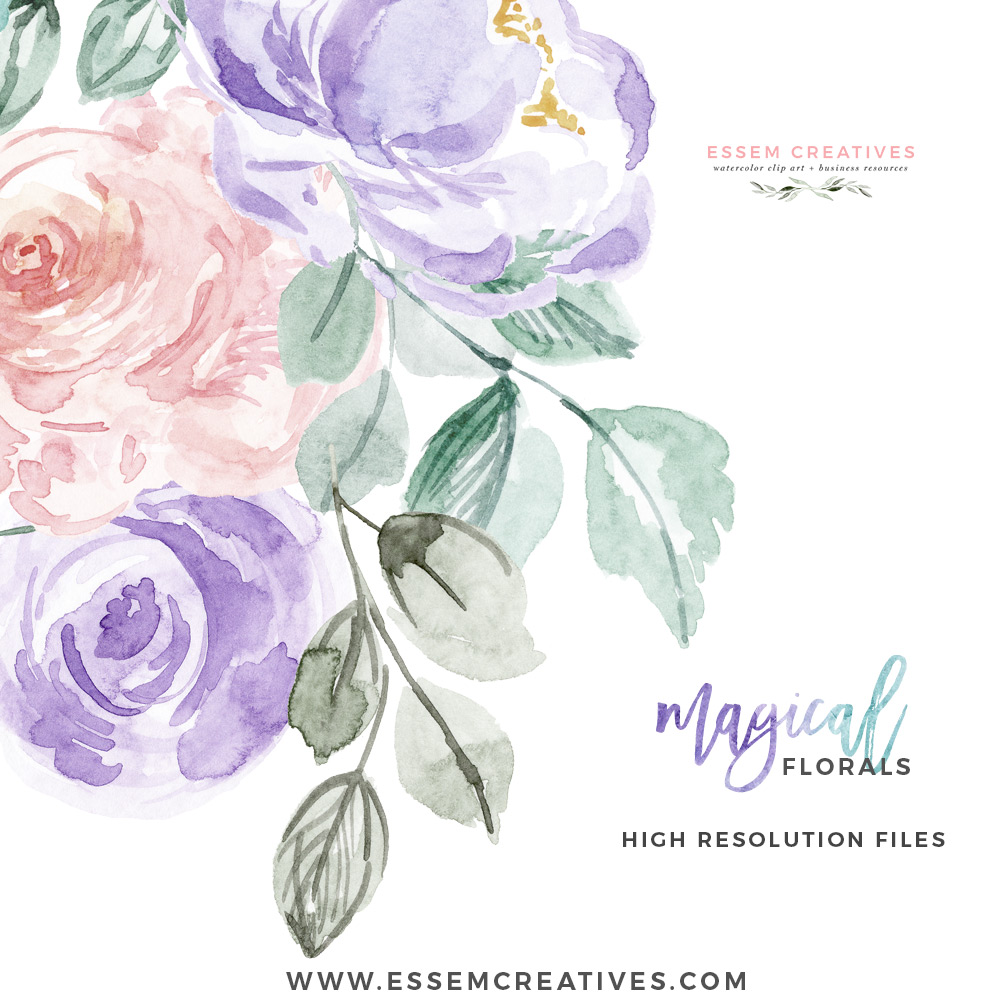 Teal and purple floral clipart clip art freeuse library Watercolor Flowers Clipart PNG with transparent background, Purple Pink  Pastel Floral Graphics clip art freeuse library