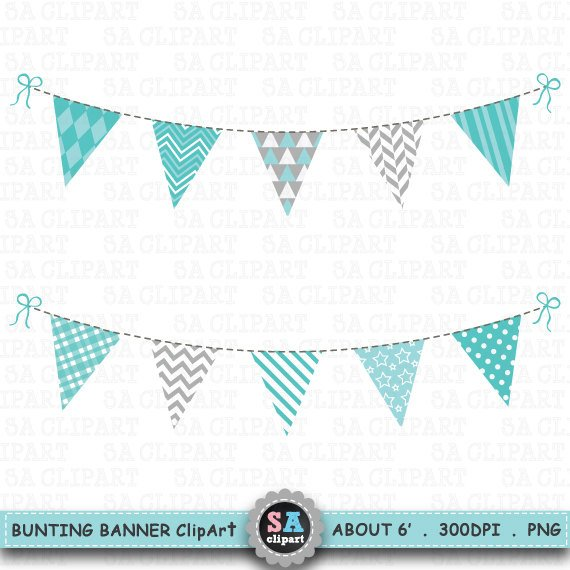 Teal banner clipart svg black and white Bunting Banner Clipart,\