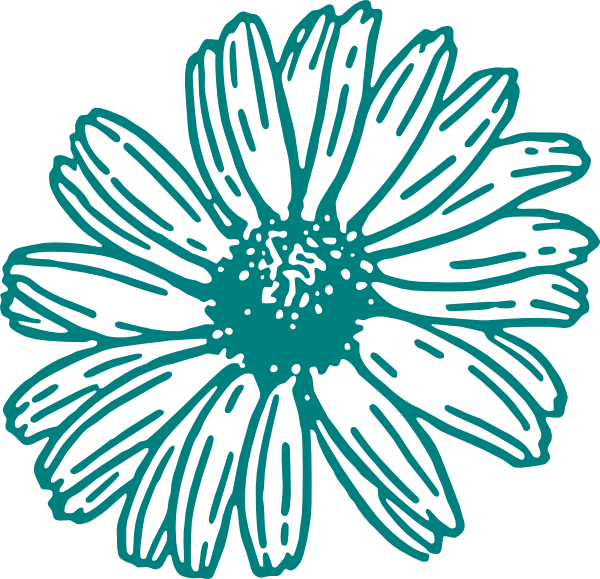Teal flower clipart picture transparent Daisy In Teal Clip Art at Clker.com - vector clip art online ... picture transparent