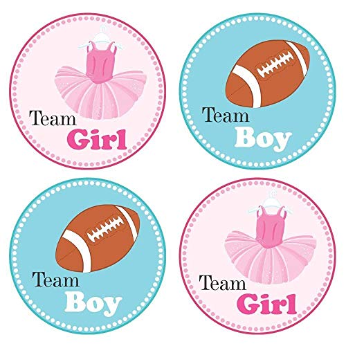 Team boy clipart clip art freeuse Tutu and Football Gender Reveal Sticker Labels - Team Girl and Boy Baby  Shower Party - Set of 30 clip art freeuse
