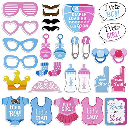 Team boy clipart png royalty free library Amazon.com: Gender Reveal Party Photo Booth Props Baby Boy ... png royalty free library