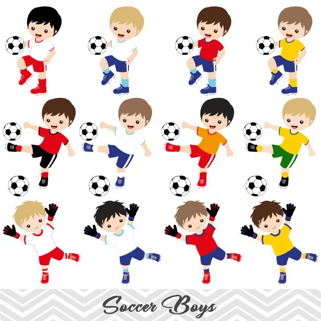 Team boy clipart banner library library Boys Soccer Digital Clip Art, Sport Boys Soccer Team Clipart, 00256 banner library library