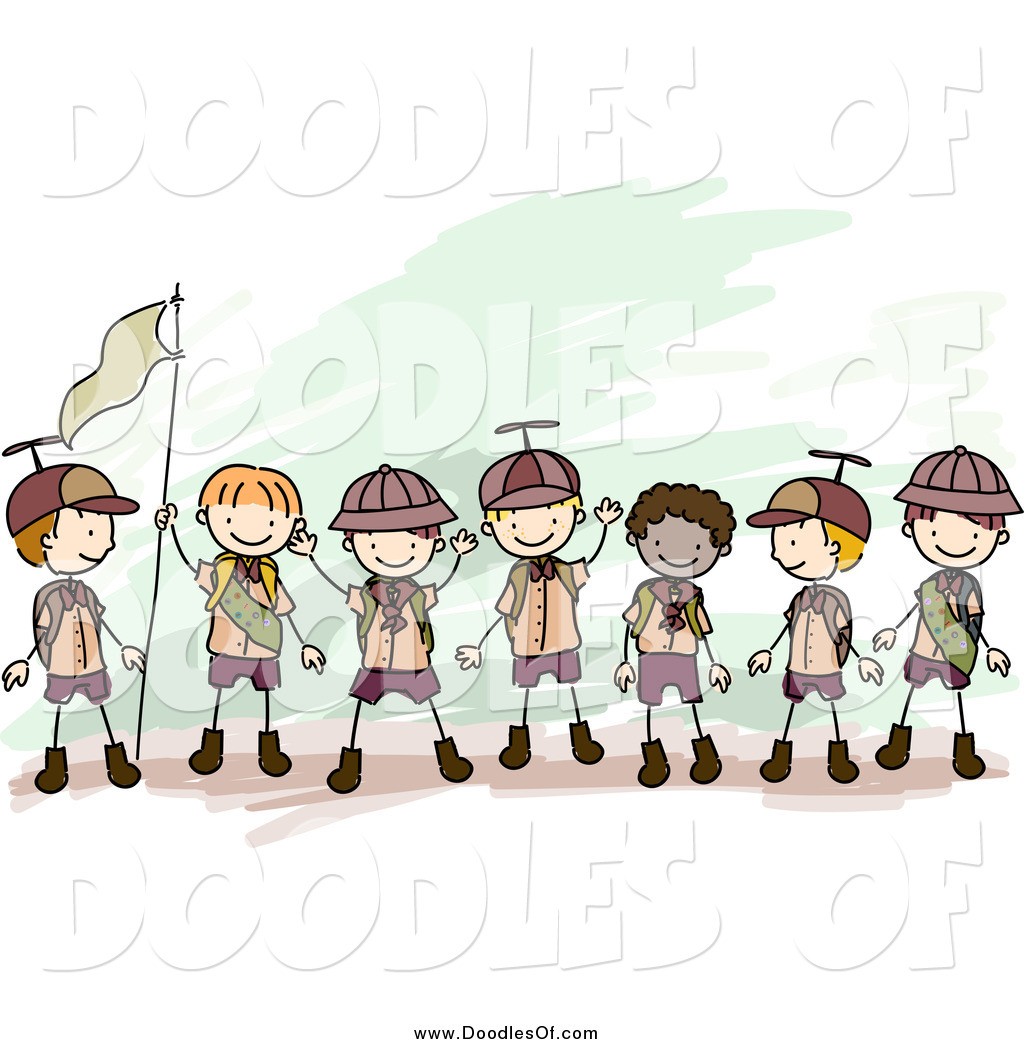Team boy clipart vector royalty free Vector Clipart of a Doodled Team of Boy Scouts Holding a ... vector royalty free