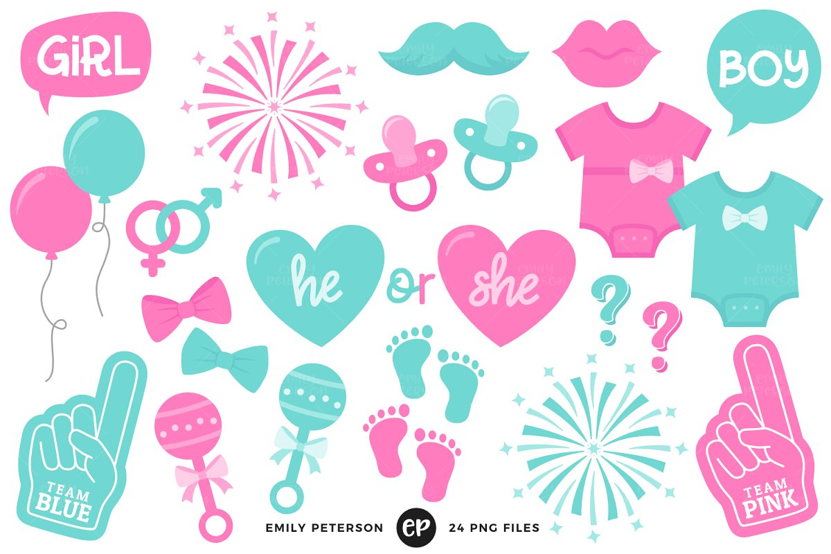 Team pink team blue clipart image stock Gender Reveal Clipart image stock
