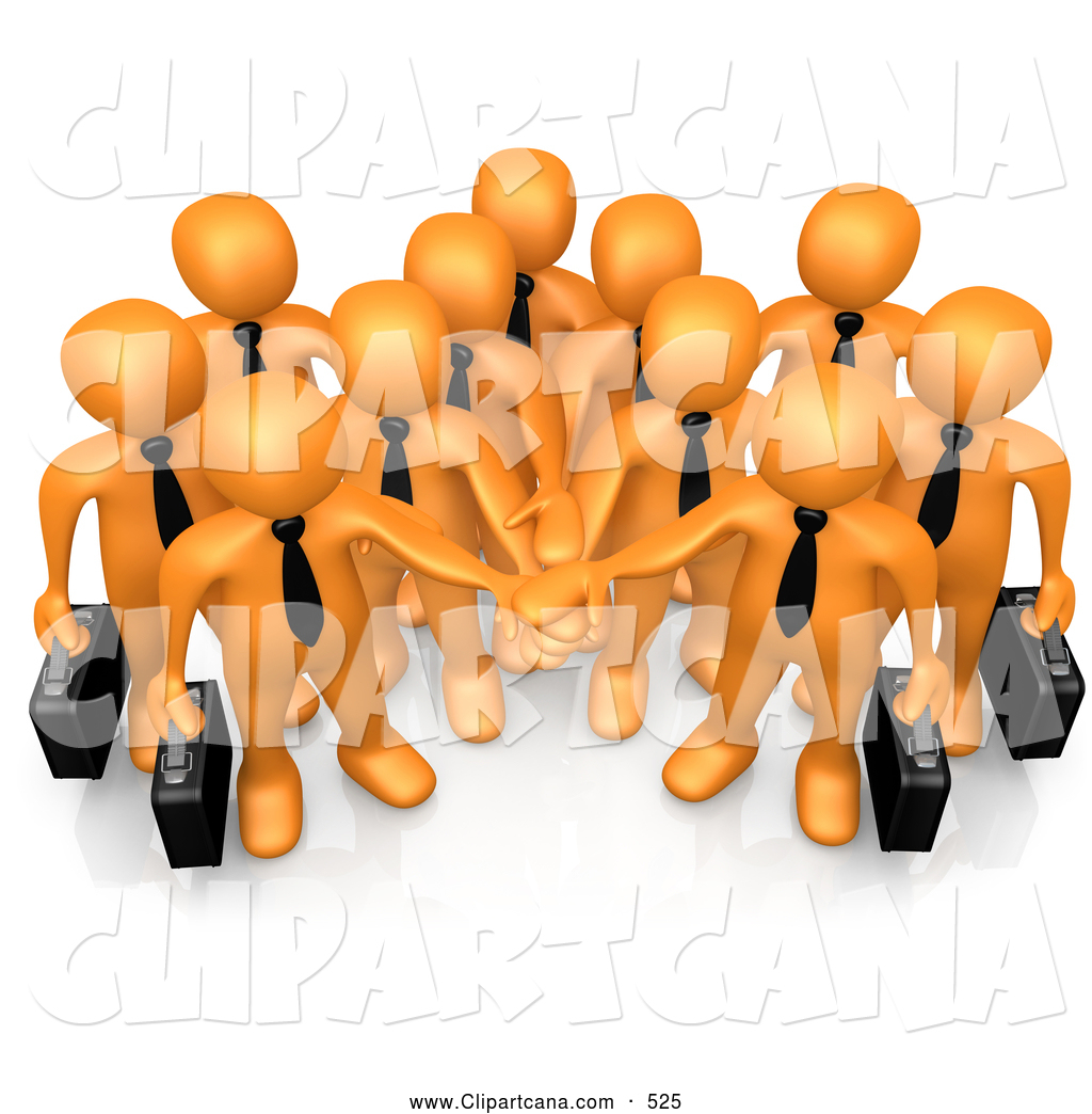 Teamwork and goals clipart png free library Cartoon Clip Art of a Friendly Group of Orange Business ... png free library