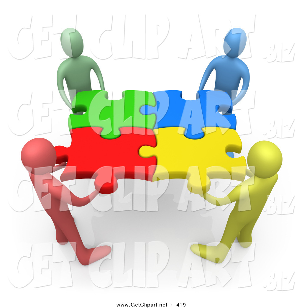 Teamwork success clipart clip black and white 3d Clip Art of a Team of Four Diverse People Holding up ... clip black and white