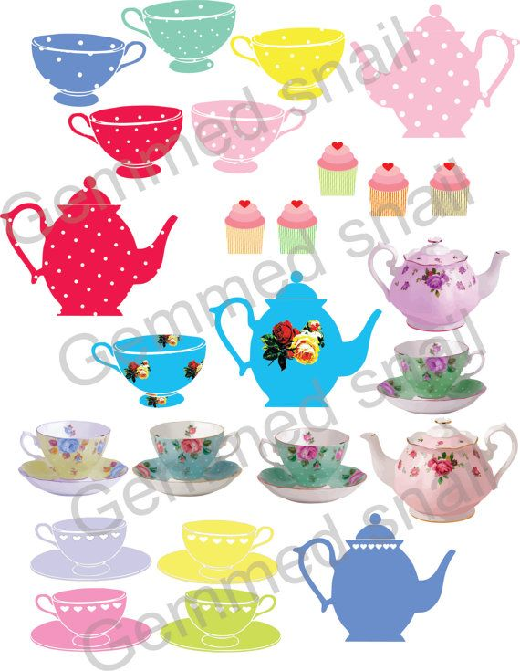 Tean is good for me clipart banner royalty free download Tea party clipart, tea cups and teapots with polka dots. 12 ... banner royalty free download