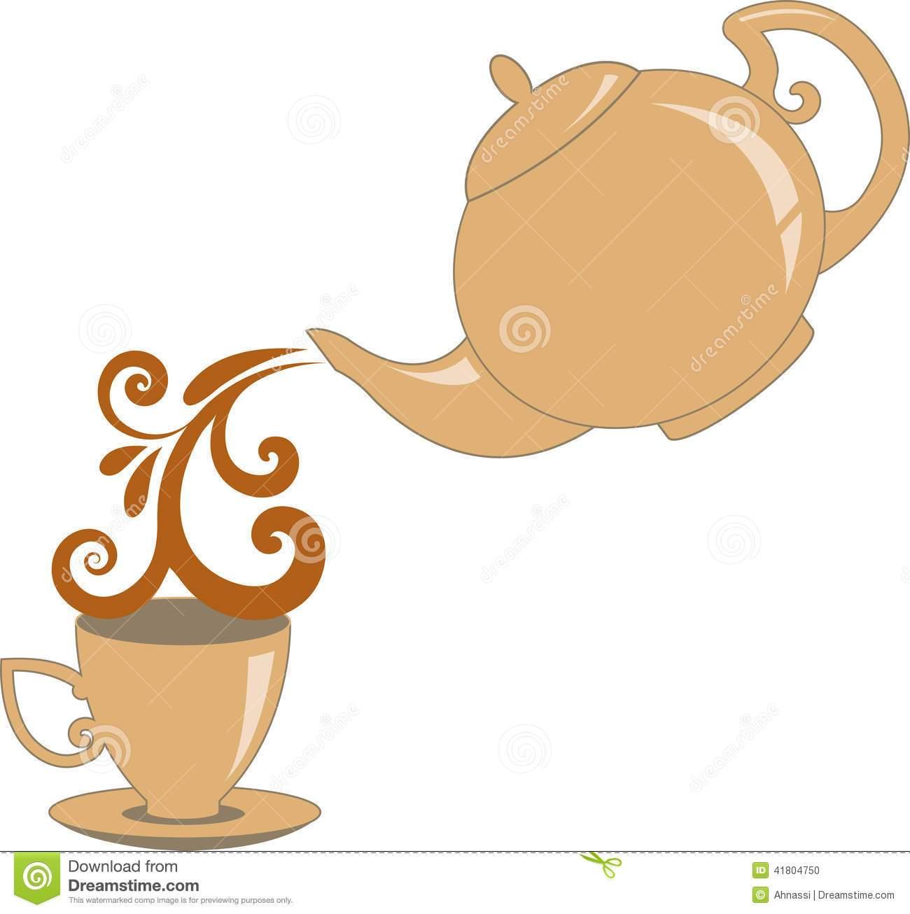 Teapot pouring tea clipart
