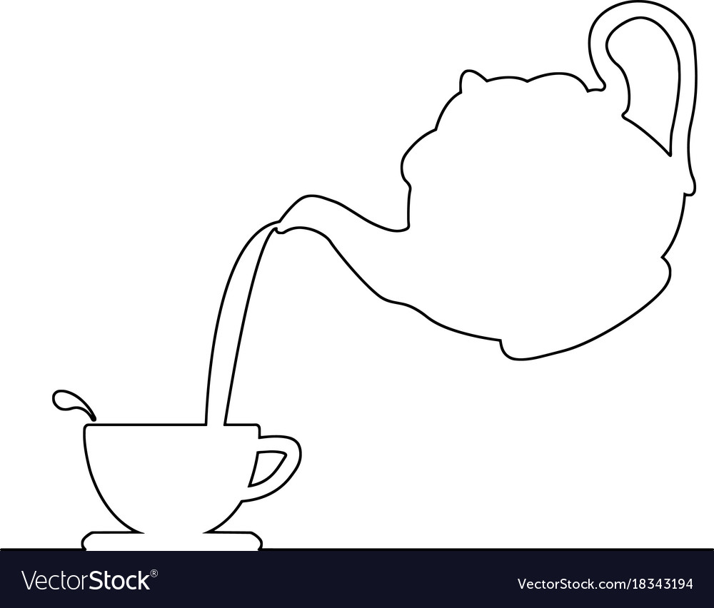 Teapot pouring tea clipart svg black and white Pouring coffee from kettle to tea cup vector image svg black and white