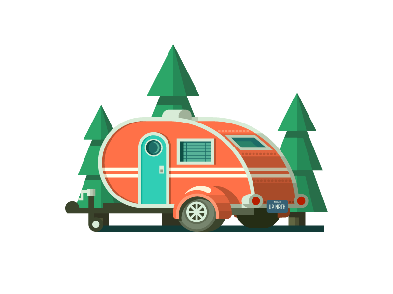 Teardrop trailer clipart vector black and white Teardrop Trailer (153/365) by Tatiana Bischak on Dribbble vector black and white
